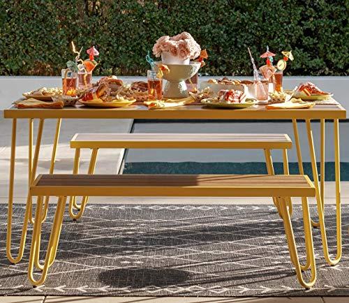 Novogratz 88192YNOE Poolside Paulette Outdoor Table and Bench Set, Yellow