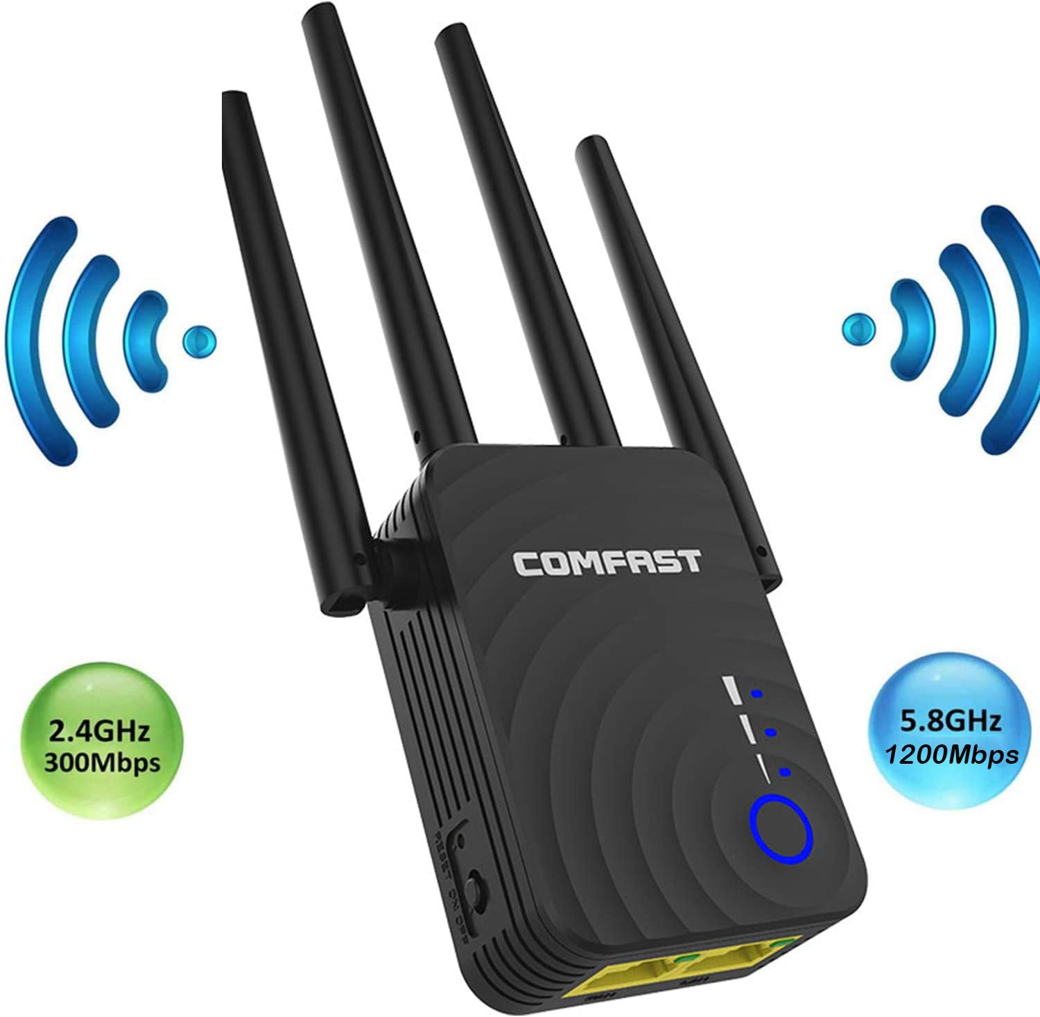 WiFi Range Extender 1200Mbps WiFi Booster AC1200 for The Hourse, Repeater 2.4 & 5GHz Dual Band WPS Wireless Signal Strong Penetrability, Wide Range of Signals(2500FT), Enjoy Gaming