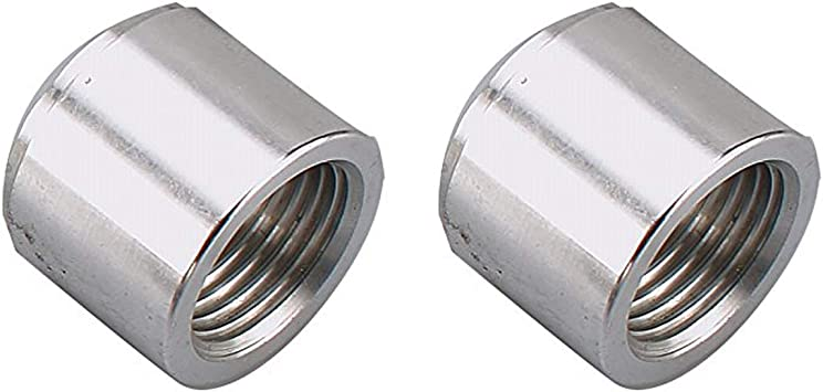 Pack of 2 1//8 Weldable Fuel Tank Fitting Aluminum Female 1//8 NPT Weld Bung Natural