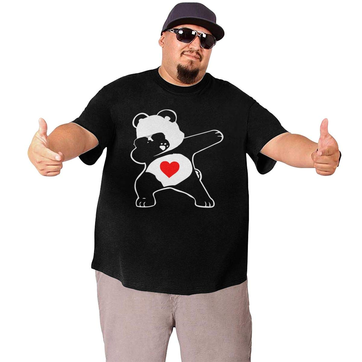 Dabbing Funny Panda Mens Oversized Classic Larger Waist T-Shirt for Size XL to 6XL