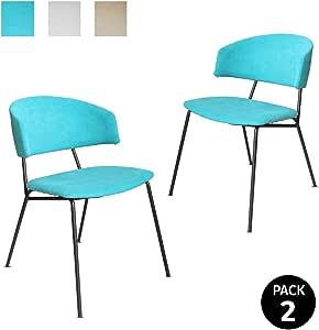 Mc Haus SHIRA - Pack 2 Sillas Nórdicas Comedor cocina Tapizadas color Turquesa, Salón Oficina Dormitorio, Respaldo y Asiento Acolchados, 58x53x77,5cm: Amazon.es ...