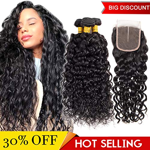 Brazilian Water Wave Bundles with Closure 3 Bundles Wet and Wavy Human Hair with Closure Swiss Lace Middle Part (14 16 18 with 12 inch closure)