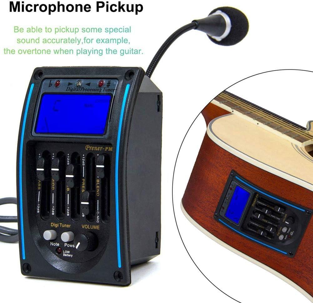 F-blue 5 Bandas de ecualización de la Guitarra acústica del sintonizador Amplificador Ecualizador Pantalla LCD de Pantalla Pastilla de Guitarra con micrófono