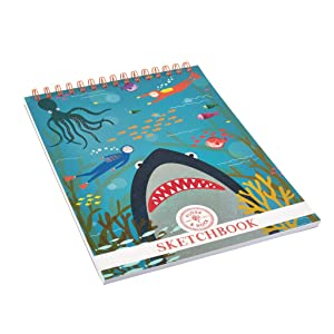 Deep Sea Great White Shark Dark Blue 11 x 8 Paper Art Sketchbook Notebook