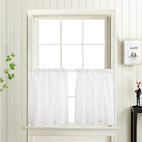 Delightful Privacy Thick Tiers Kitchen Curtains Privacy Semi Sheered Curtain Cafe  Curtains Casual Weave Textured Half