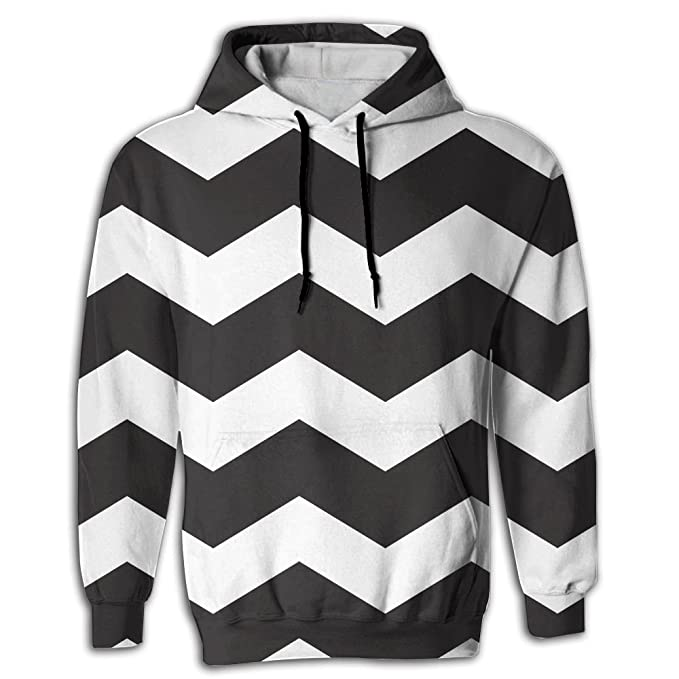 758f41bf2c Lqnh Men's Fancy Black White Stripe Print Pullover Hoodie With Hat With  Front Pouch Pocket Hooded Sweatshirt at Amazon Men's Clothing store:
