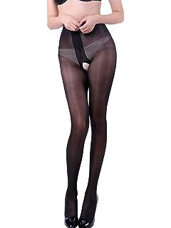 70e7f2b8be41c E-Laurels Women's Sheer Crotchless Pantyhose Open Crotch High Waist Tights  Sexy Shiny Silk Stockings