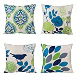 #9: Unique Warm Outdoor Sofa Home Pillow Covers Floral Cartoon Shadow Bird Silhouette Cotton Linen Cushion Covers 18 X 18 Inches Pack of 4