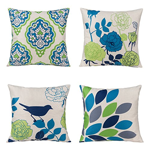 Unique Warm Outdoor Sofa residence Pillow Covers Floral Cartoon Shadow Bird Silhouette Cotton Linen Cushion Covers 18 X 18 Inches Pack of 4 Black Friday & Cyber Monday 2018