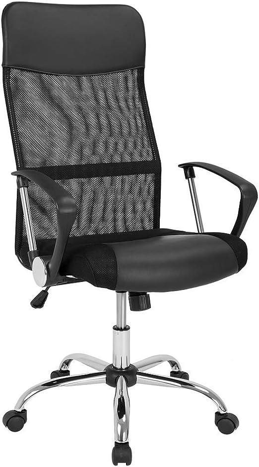 Deuba Silla de Oficina Negra con Ruedas giratorias sillón ...