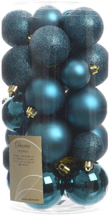 Albero Di Natale Petrolio.30 Palline Di Natale Blu Petrolio Assortite Albero Di Natale Addobbi Decorazioni Amazon It Casa E Cucina