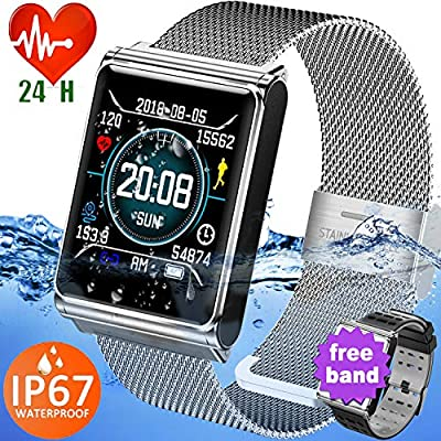 1.3'' IPS Smart Watch Sport Fitness Tracker Waterproof IP67 Heart Rate Blood Pressure Sleep Monitor for Men Women Calorie Tracker,Sync for Android iOS Phone Gift for Travel Office Outdoor丨2 Watch Band