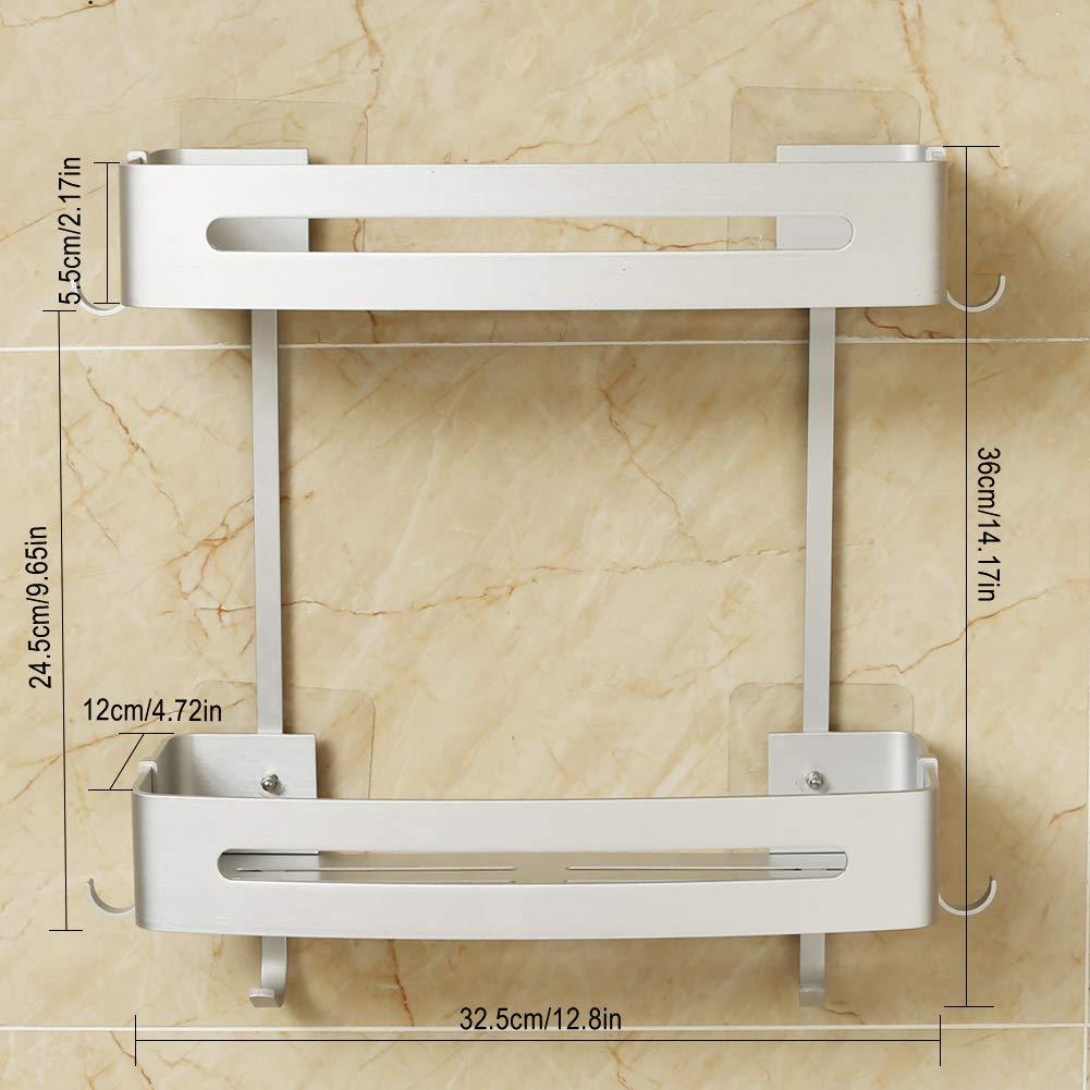 Estantes de Ba/ño de Aluminio Espacial Perforado Entramado de Ba/ño Muebles de Ba/ño Hodzeed Sin Necesidad de Taladrar Estanter/ía de Esquina para Ba/ño Ducha