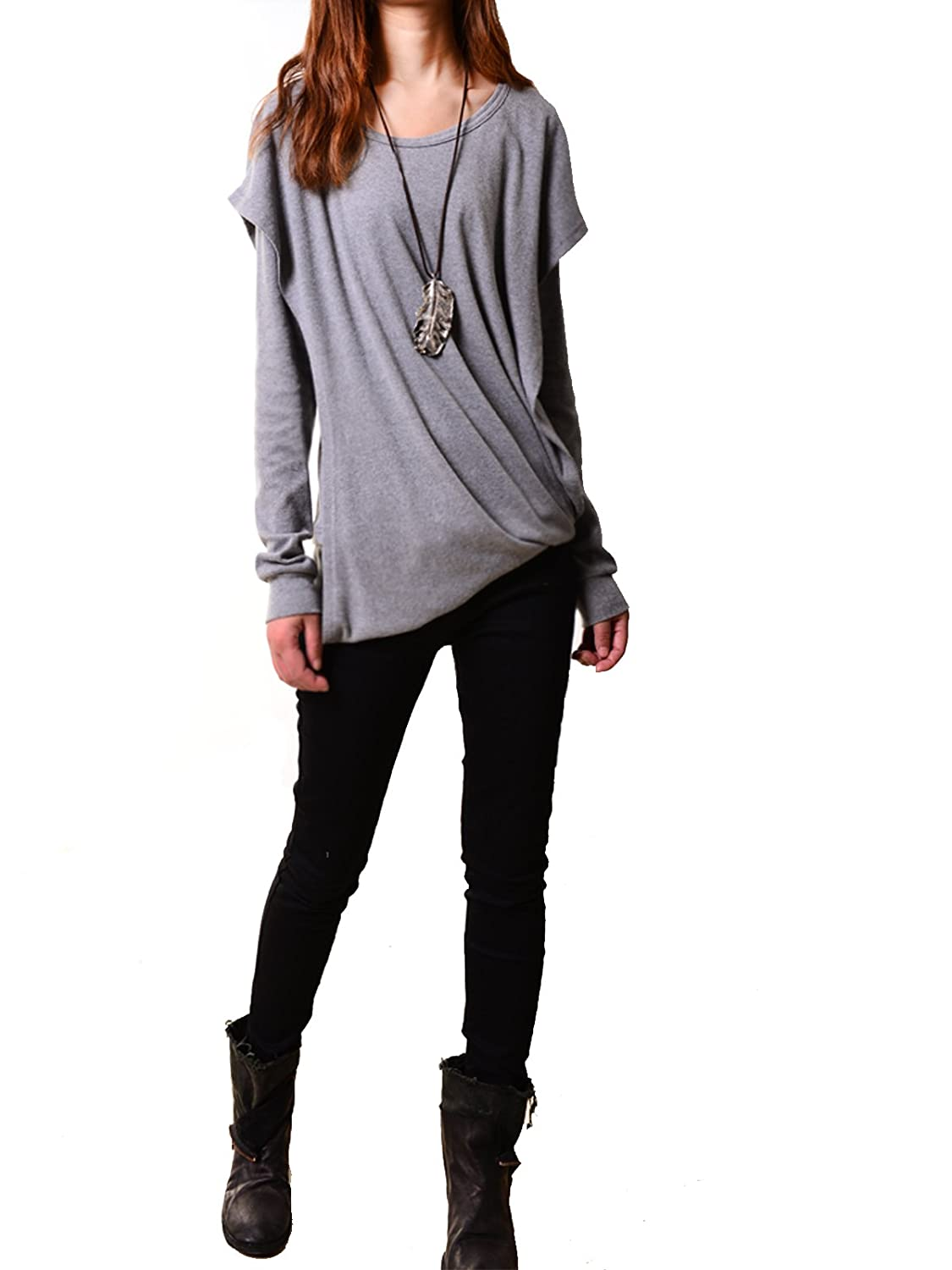 Idea2lifestyle Women's Poetic Layered Cotton Hoodie Song of Wanderer Gray