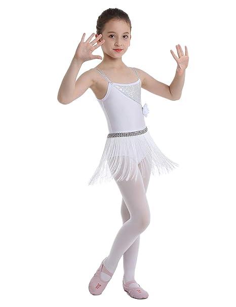inhzoy Vestido de Baile Latino Flecos para Niña Maillot Tirantes de Ballet Clásico Lentejuelas Vestido de Danza Tango Samba Rumba Disfraz Bailarina