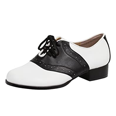 4f8908542ad28 Summitfashions Women's Saddle Shoes with 4 Eyelet Lace Up and 1 Inch Heel  Black White Two Tone