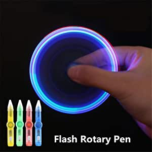 Qiuxiaoaa LED Spinning Pen Bolígrafo Fidget Spinner Hand Top Glow ...