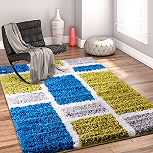Well Woven Modern Geometric Shapes Green Blue Area Rug (3'3 x 5'3)