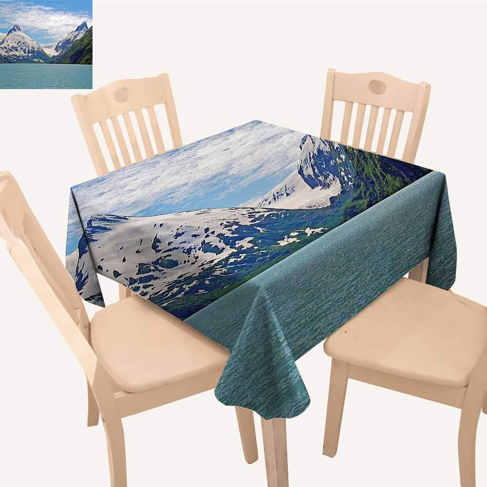 UHOO2018 Decorative Tablecloth Square/Rectangle Mounta Lake Anchorage SPR gtime Sunny Day Scenic View Picture White Assorted Size,50x 50inch