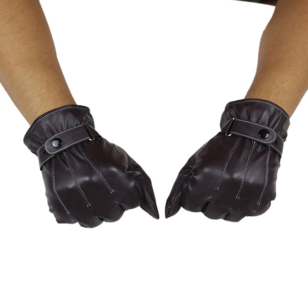 DETALLAN Mens Luxurious PU Leather Winter Super Driving Warm Gloves Cashmere