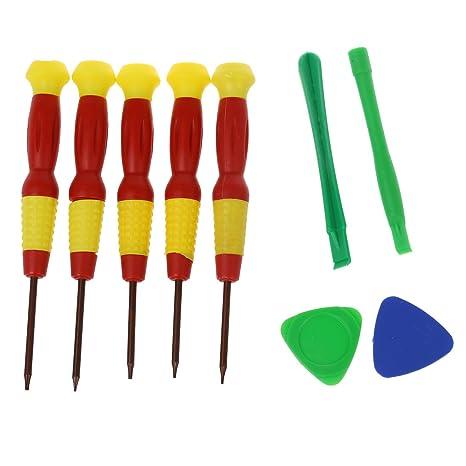 SODIAL(R) Torx T2 T3 T4 T5 T6 Juego de reparacion Juego de herramientas Destornilladores magneticos de Telefono movil