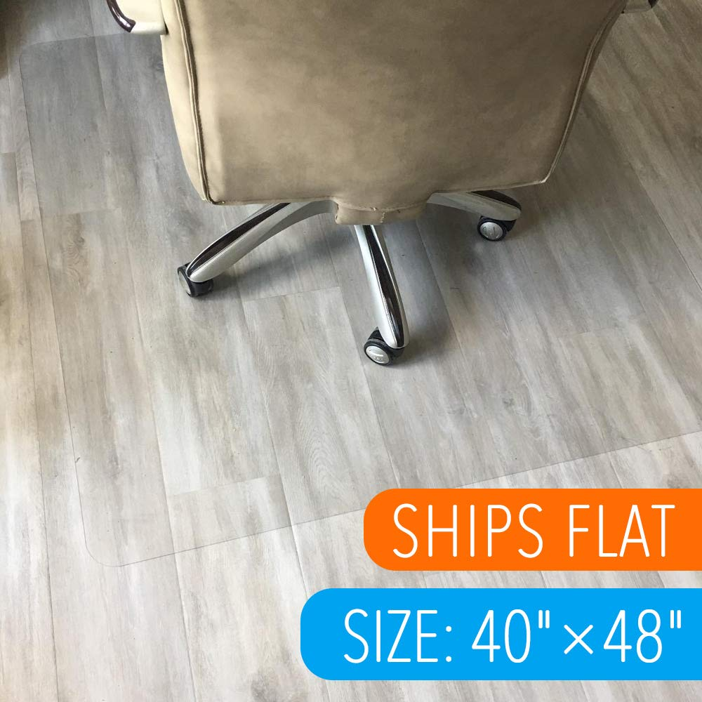 Polycarbonate Office Chair Mat for Hardwood Floor, Floor Mat for Office Chair(Rolling Chairs)-Desk Mat&Office Mat for Hardwood Floor-Sturdy&Durable, Immediately Flat When Taken Out of Box: 40''x48''