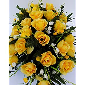 Yellow Rose with White Accent Flowers Cemetery Saddle Arrangement for Headstone Decoration 2