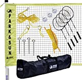 Park & Sun Sports Portable Indoor/Outdoor Badminton Net System with Carrying Bag and Accessories: Tournament Series