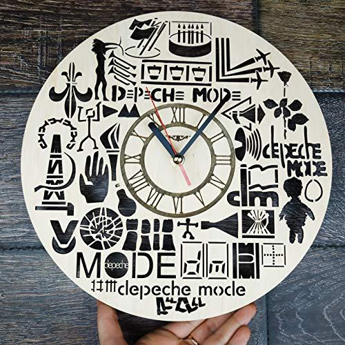 """Depeche Mode Wood Wall Clock - Original Home Decor for Living Room Bedroom Kitchen - Best Gift Idea for Father Friends Neighbour Boys and Girls - Unique Wall Art Design - Size 12"""""""