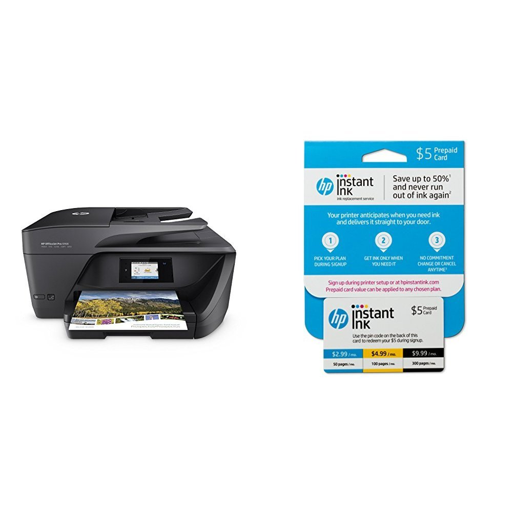 HP OfficeJet Pro 6968 All-in-One Wireless Printer with Mobile Printing (T0F28A) and Instant Ink Prepaid Card for 50 100 300 Page per Month Plans (3HZ65AN)