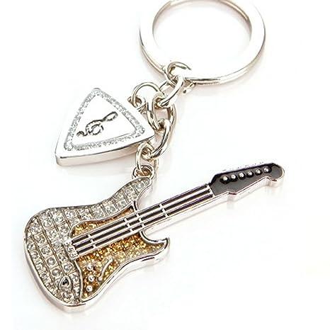 Amazon.com : Cool Metal Rock Guitar Shape Keychain Key Ring ...