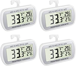 4 Pack Waterproof Digital Refrigerator Thermometer Large LCD, Freezer Room Thermometer with Magnetic Back, No Frills Easy to Read
