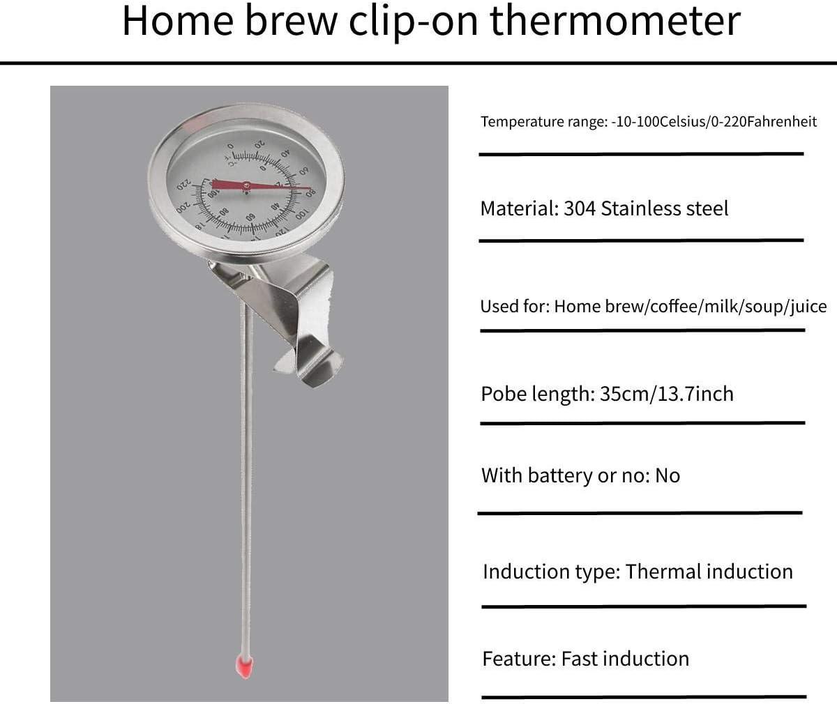 Jeffergarden 1 Unid Caldera Clip para Marcar Term/ómetro Home Brew Vino Cerveza Term/ómetros Acero Inoxidable Leche L/íquida Caliente Cocina Sonda de Yogur Temperatura