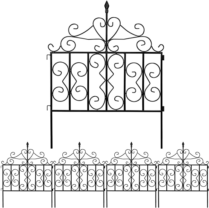Amagabeli Decorative Garden Fence 32in x 10ft Black Metal Landscape Wire Folding Fencing Patio Wire Border for Raised Flower Bed Dog Barrier Rustproof Tall Garden Edge Section Décor Picket Panels FC03