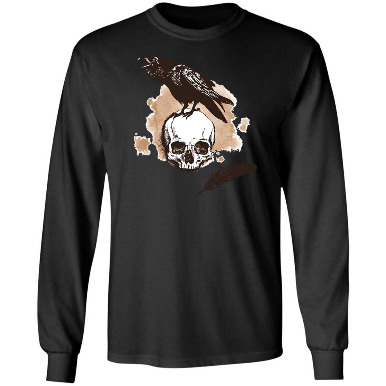 1 Black Teechopchop Ravens,Black Bird,Art,Drawing, Long Sleeve Shirt
