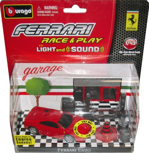 Ferrari Enzo Four (FERRARI ENZO Light & Sound Race & Play Set with 1:64 Scale Collectible Die Cast Car by Burago)