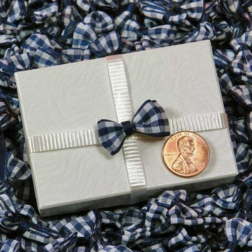 Gingham Bow - Navy Small Gingham Bow Ties, 1/2