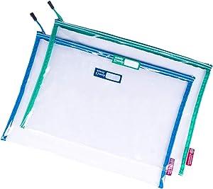 Rough Enough Plastic Clear File Folders Document Organizer Zipper Pouch Bag Big Large for Legal Pads A4 Paper Letter Size Manila Envelopes Storage for Teacher College Office School Art Supplies 2 Pack
