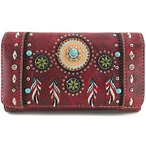 Coin Studded (Justin West Tribal Dream Catcher Feather Embroidered Studded CCW Concealed Carry Shoulder Cross Body Handbag Wallet (Wine Wallet ONLY))