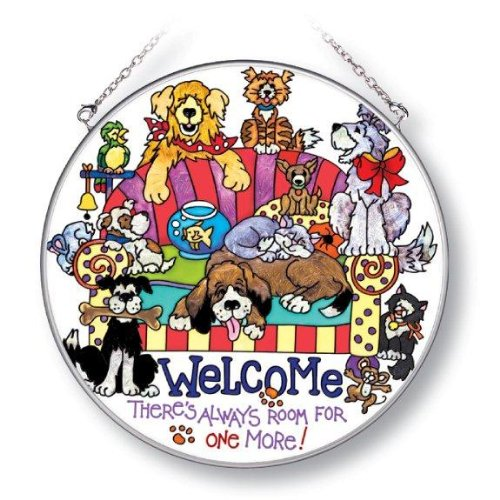 Amia 5192 Circle Suncatcher Hand-Painted on Glass, Welcome Dog Theme, 6-1/2-Inch, - Painted Suncatcher Hand Glass