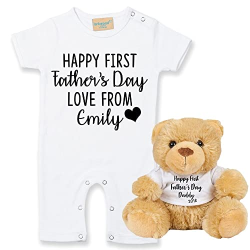 Personalised happy first fathers day love from name babygrow and personalised happy first fathers day love from name babygrow and teddy set baby gifts newborn gifts negle Images