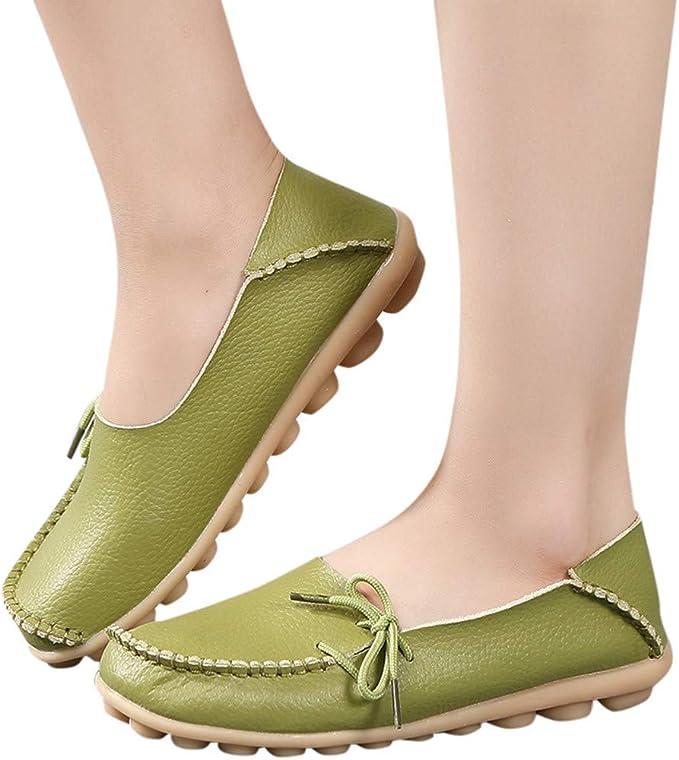 Amazon.com: Xinantime Zapatillas de cuero para mujer ...