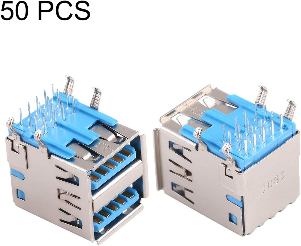 CHENNAN 50 PCS 90 Degrees USB 3.0 Receptacle Connector in Double Dip Type Replacement