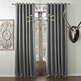 TWOPAGES® Solid Faux Linen Classic Room Darkening Grommet Top Curtains Draperies ( 1 Panel ) 84 Inch Width by 102 Inch Length