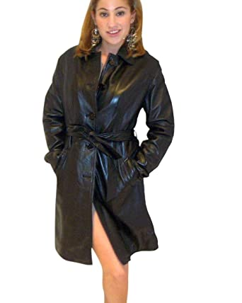 Women's Buttons /belted Black long Genuine Leather Jacket -XSmall ...