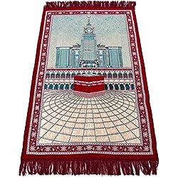 Sajda Rugs NEW Prayer Rug - Islamic Janamaz Sajadah Namaz Sajjadah Turkish Prayer Mat Carpet Rug (Red) Ramadan Eid Gifts