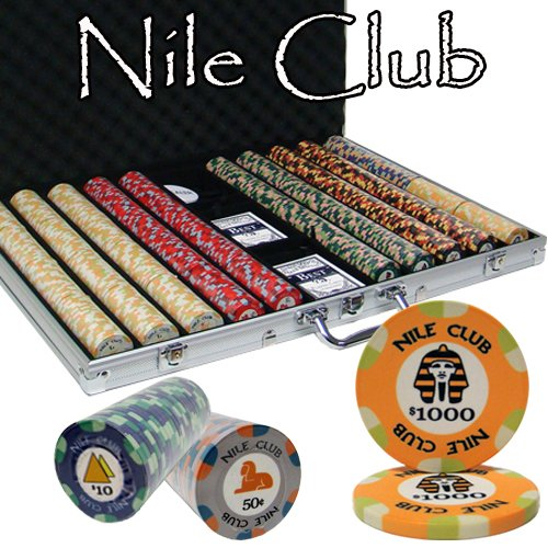 - Brybelly 1,000 Ct Nile Club Poker Set - 10g Clay Composite Chips with Aluminum Case, Playing Cards, Dealer Button
