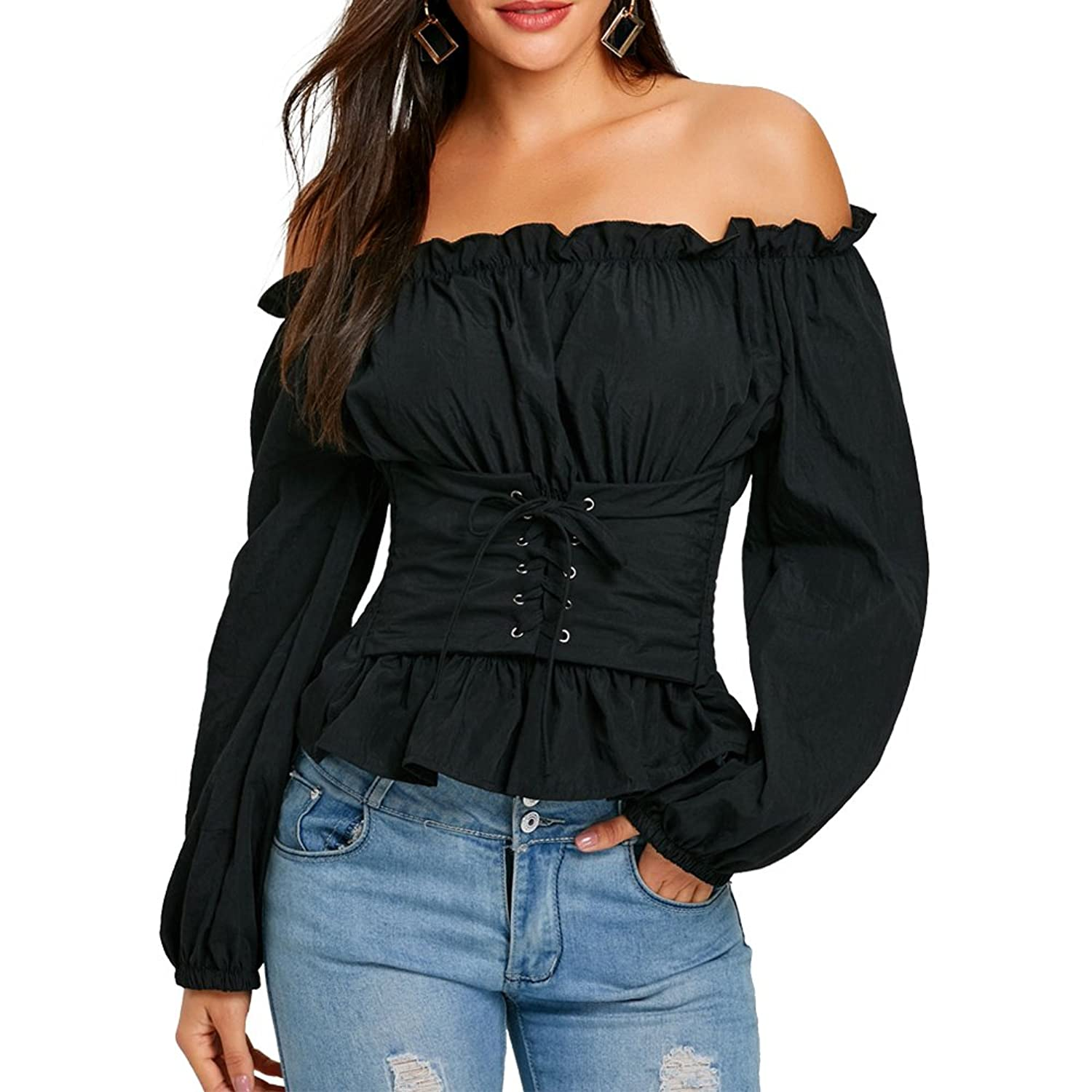 bf988e79496 lluring plain blouse features off the shoulder collarline, long sleeves and  lace up front design