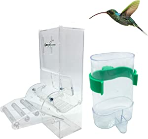 Hamiledyi 2 Pcsautomatic Parrot Feeder Drinker Hanging Spill-Proof Water Cup Feeder Food Feeding Automatic Feeding for Budgies Finch and Other Bird Rabbit Mice