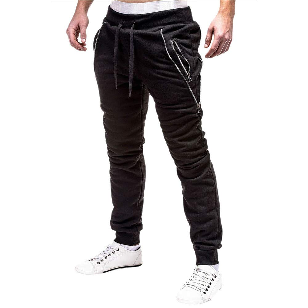 Spbamboo Mens Pants Fashion Sport Zipper Casual Loose Drawstring Waist Sweatpant by Spbamboo